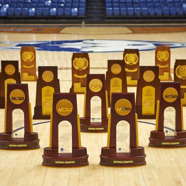 several UConn athletic trophies