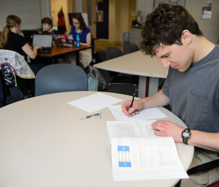 Students study at the Academic Center at the Avery Point campus