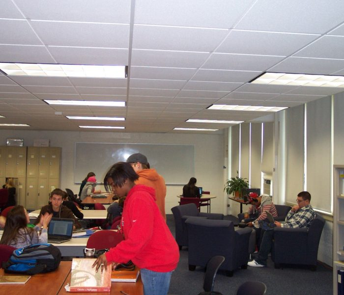 Students study at the Academic Center at the Avery Point campus.