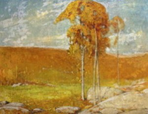 Image of painting by Emil Carlson (1853-1932). Title: Late Fall Day in Windham. Credit:Louis Crombie Beach Memorial Fund