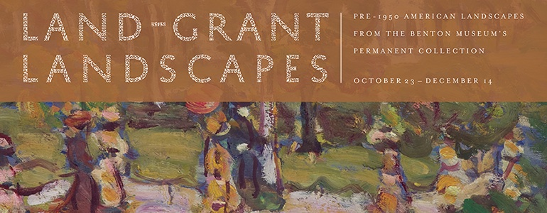 Website Banner drawn from work by Maurice Brazil Prendergast, Land-Grant Landscape exhibition; Pre-1950 American landscapes from the Benton Museum's permanent collection. October 23 - December 14