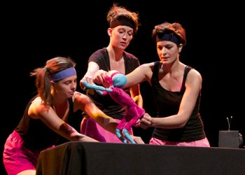 UConn Puppet Arts graduate students Sarah Nolen, Ana Craciun, and Krista Weltner