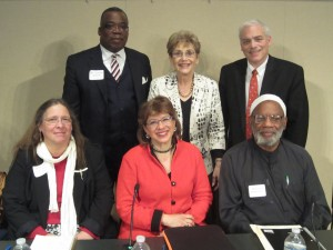 Professor Susannah Heschel of Dartmouth College<br /><br /><br /><br /> (front row, center) is joined by Professor Nehama Aschkenasy (2nd row, center) and fellow interfaith panelists after the Fall 2012 Louis J. Kuriansky Annual Conference.