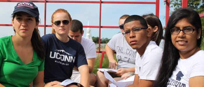 College Ambassadors on a hayride during training 2013
