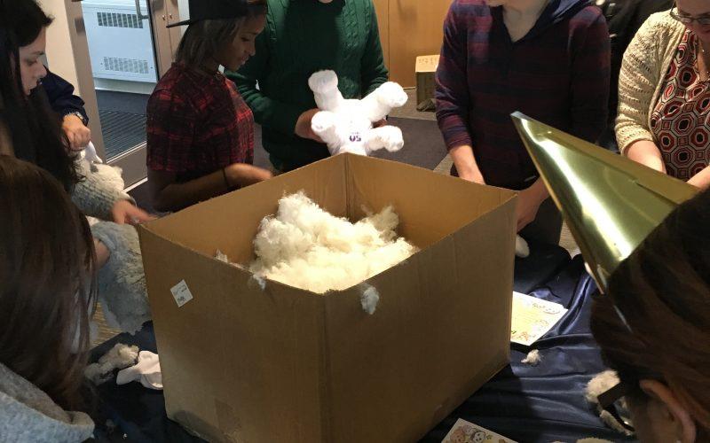Students building their own stuffed huskies
