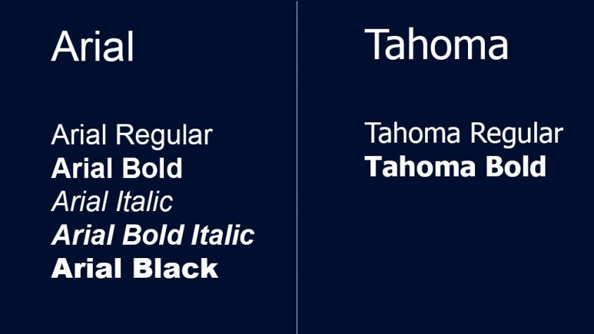 Examples of Arial and Tahoma Type