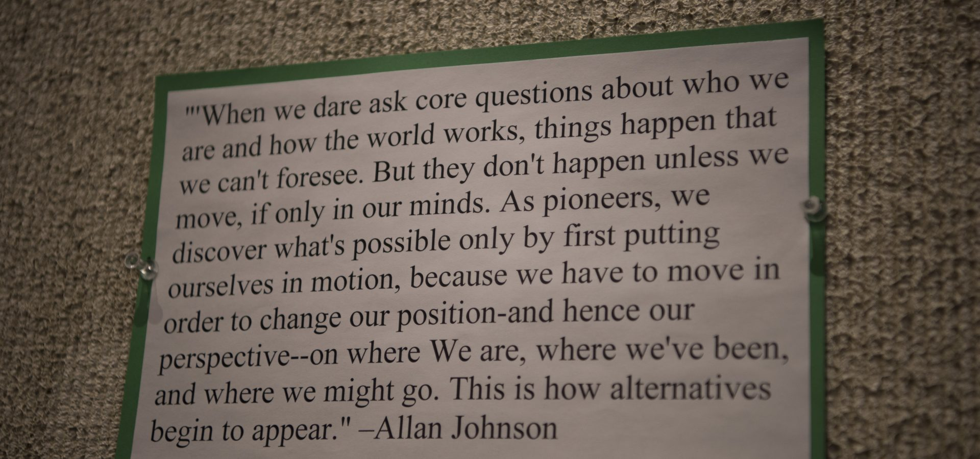 "Allyship artwork - ""when we dare to ask quote"" - ALlan Johnson"
