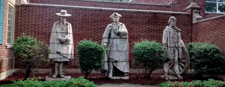 Statues of Presbyterian ministers outside the Presbyterian Historical Society, Philadelphia, PA.