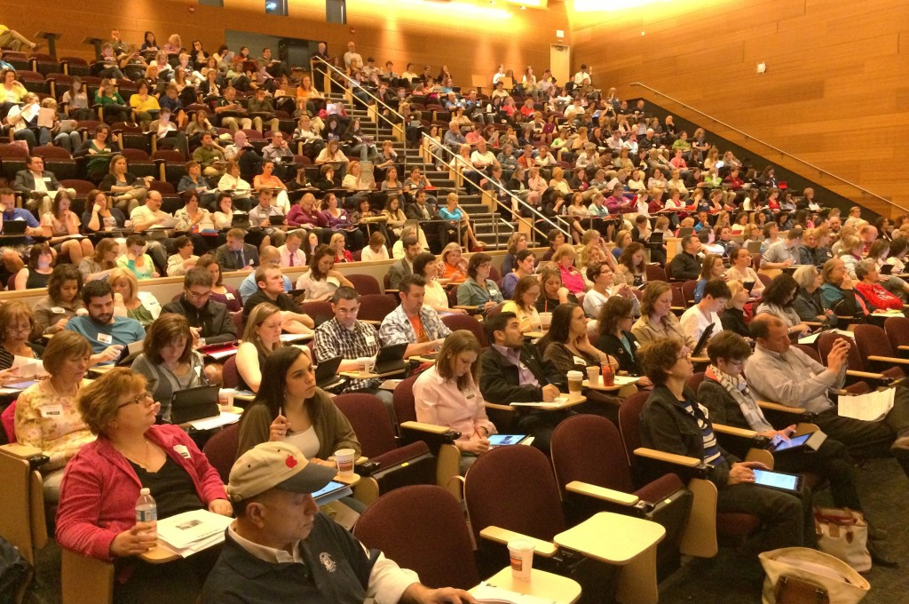 Photo of crowd attending keynote at iPad conference