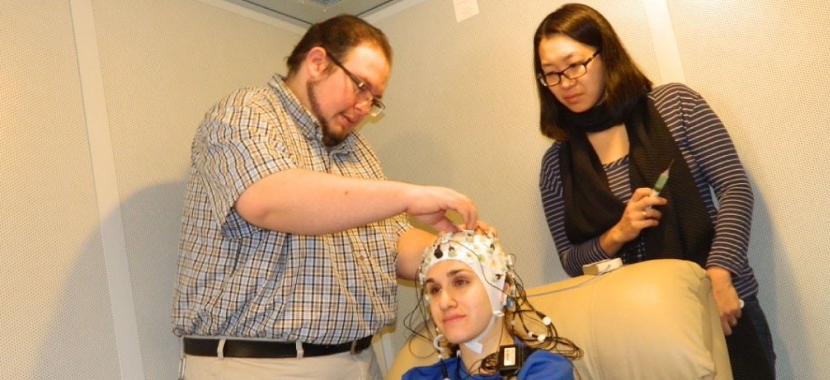 Preparing to record EEG.