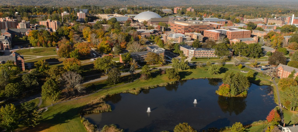 An aerial view of the Storrs campus