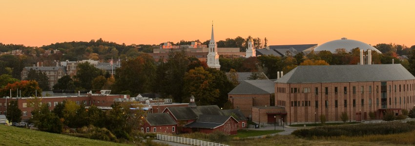 A view of the Storrs campus skyline at dusk