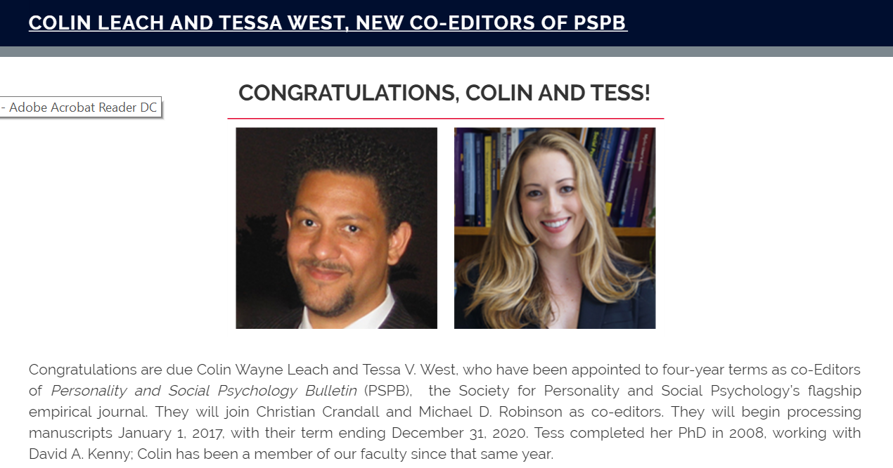 Colin Leach and Tessa West appointed co-editors of PSPB