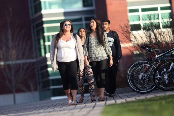 Students enjoying a walk between classes