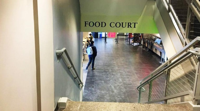 Stairs down to Food Court