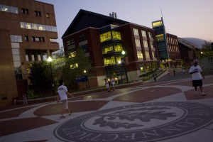 UConn seal and bldg