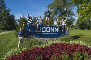 UConn sign and students