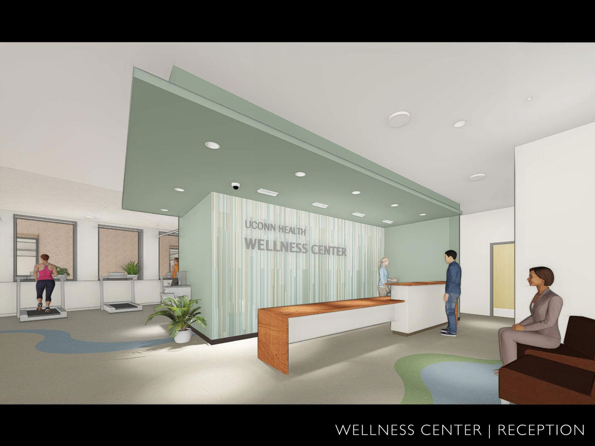 Reception area of the Wellness Center in the newly renovated academic building