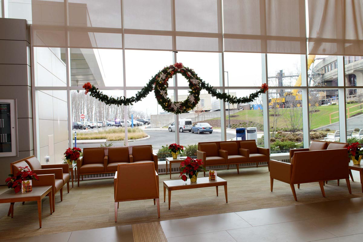 Holiday decorations at UConn Health in 2016