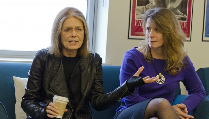 Gloria Stinem leading a discussion in the womens center