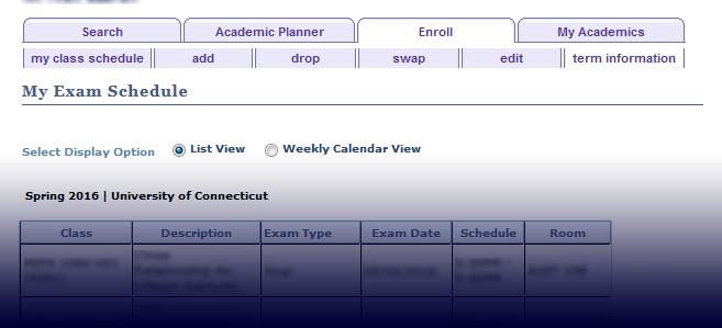My Exam Schedule